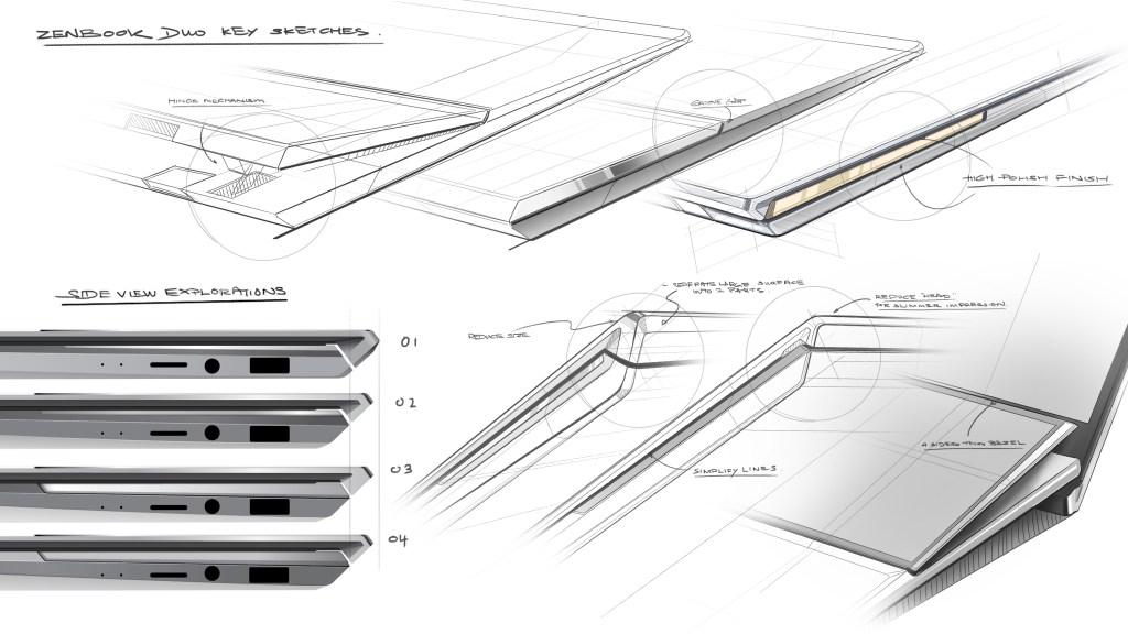 Early sketch ideas of ZenBook Duo UX481