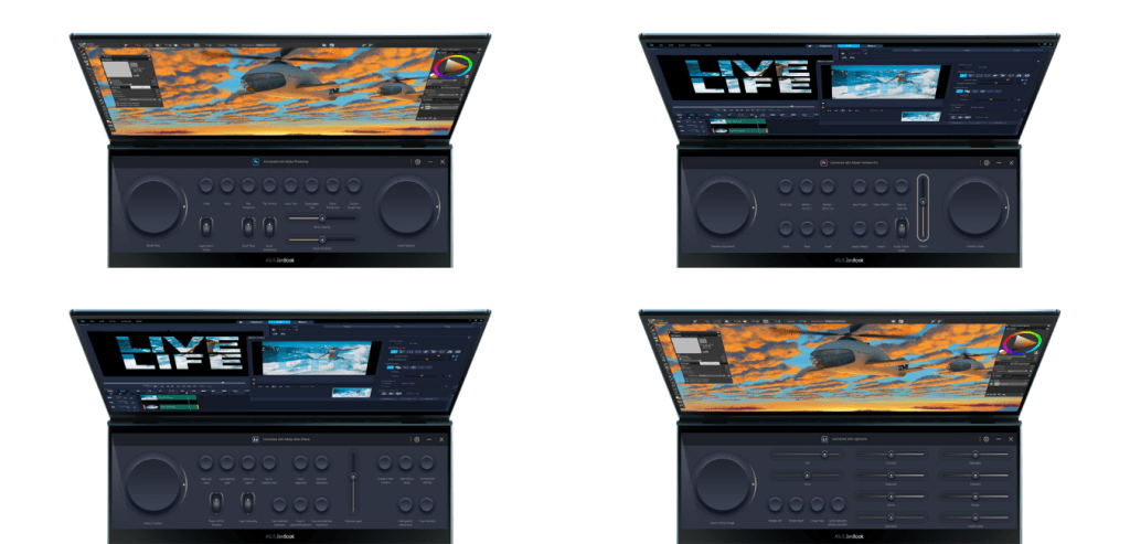 4 layouts of Asus Control Panel